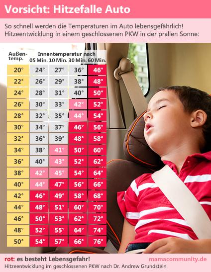 Temperaturtabelle - so schnell werden die Temperaturen im Auto lebensgefährlich